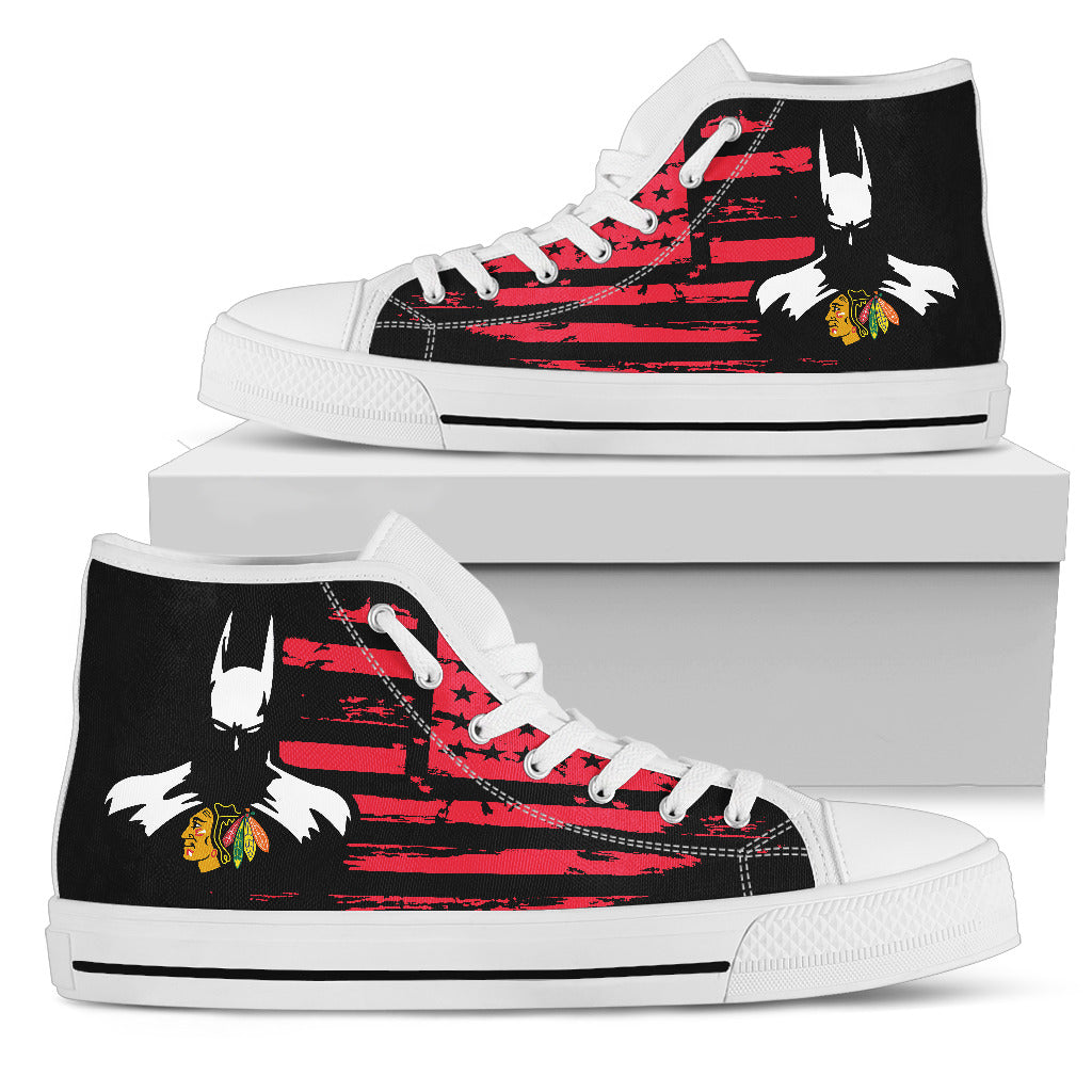 Batman Style Big Chicago Blackhawks High Top Shoes