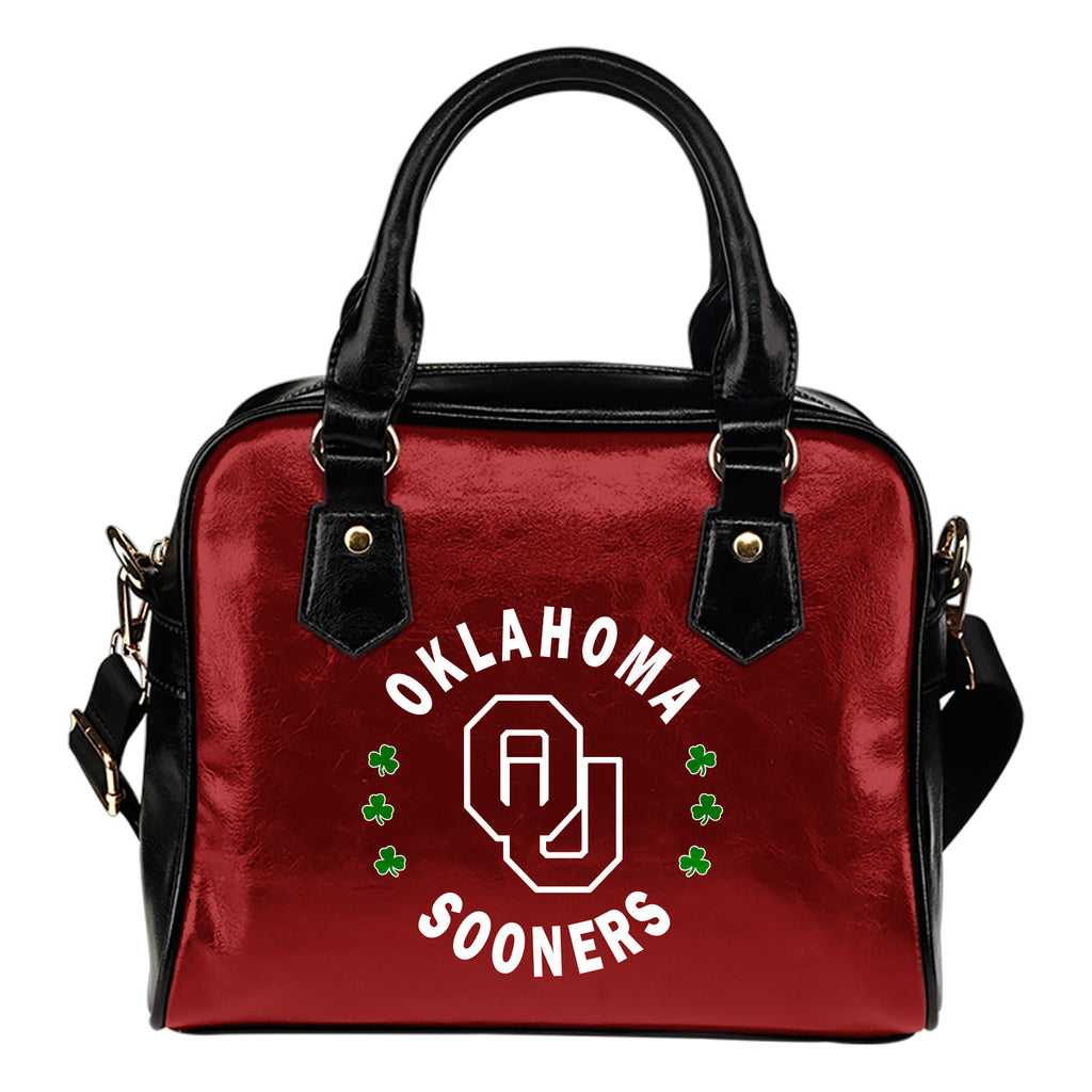 Central Beautiful Logo Circle Lucky Leaf Oklahoma Sooners Shoulder Handbags
