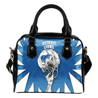 Saw Tooth Border Wonderful Hand Up Detroit Lions Shoulder Handbag
