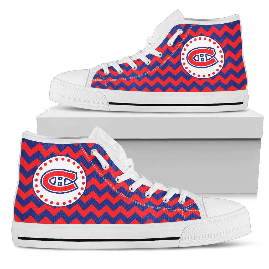 Chevron Broncos Montreal Canadiens High Top Shoes