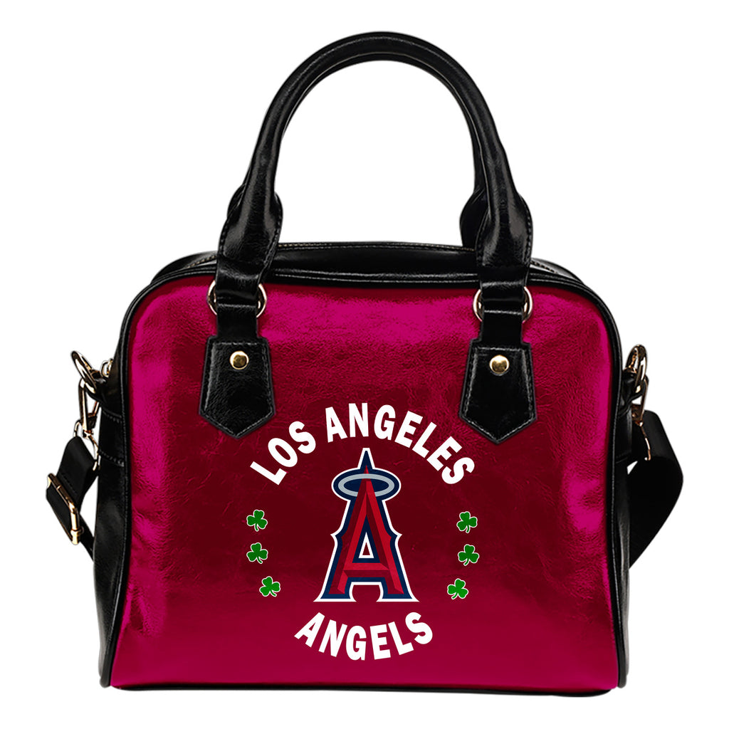 Central Beautiful Logo Circle Lucky Leaf Los Angeles Angels Shoulder Handbags