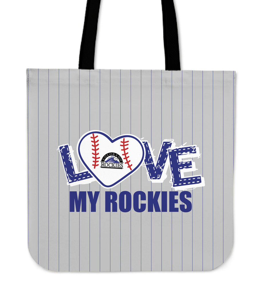 Love My Colorado Rockies Vertical Stripes Pattern Tote Bags