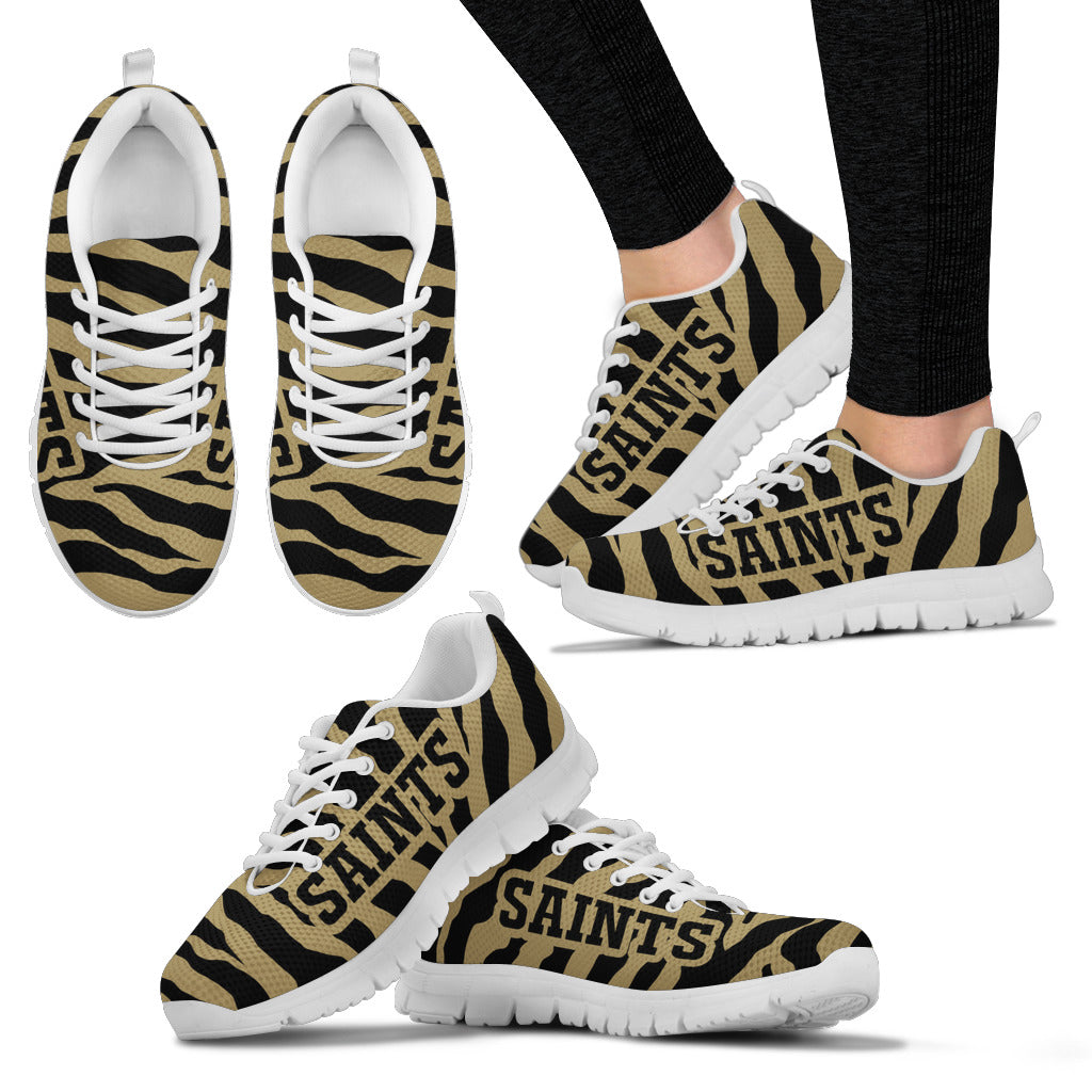 Tiger Skin Stripes Pattern Print New Orleans Saints Sneakers