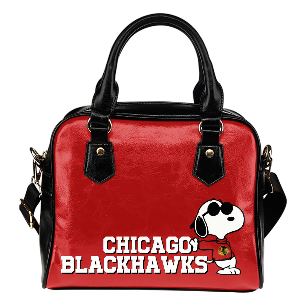 Chicago Blackhawks Cool Sunglasses Snoopy Shoulder Handbags Women Purse