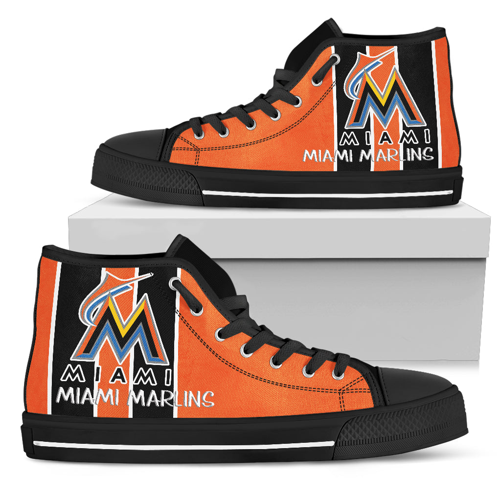 online store f3024 ba554 Steaky Trending Fashion Sporty Miami Marlins High Top Shoes