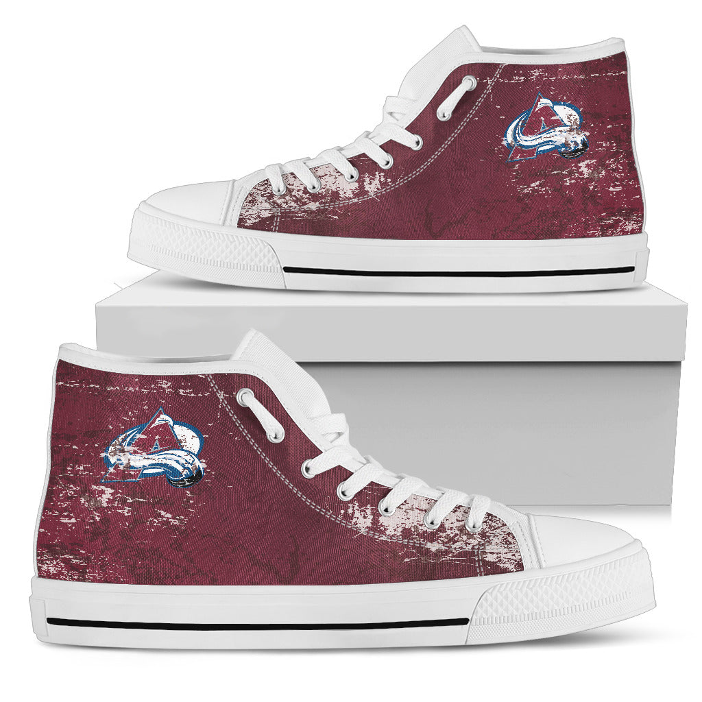 Grunge Vintage Logo Colorado Avalanche High Top Shoes