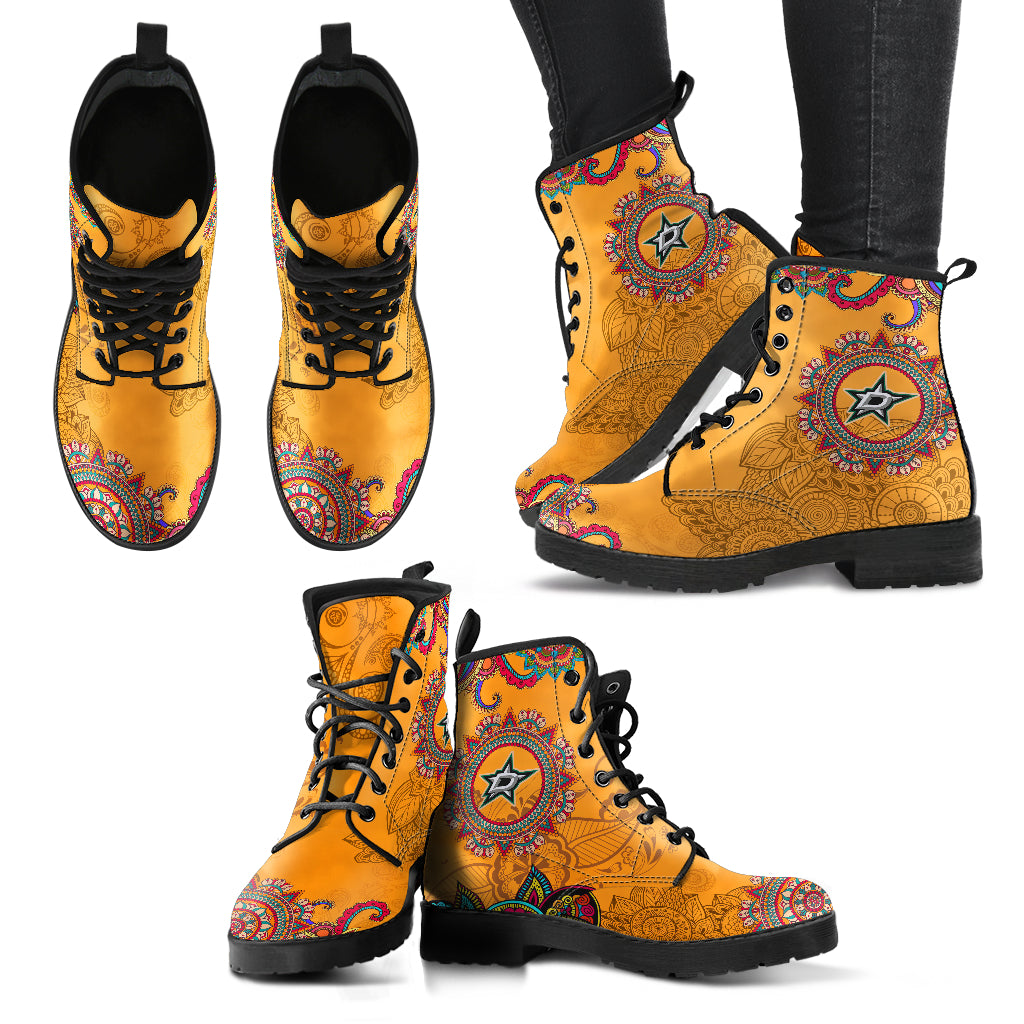 Golden Peace Hand Crafted Awesome Logo Dallas Stars Leather Boots