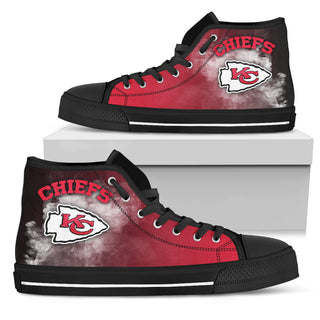 White Smoke Vintage Kansas City Chiefs High Top Shoes