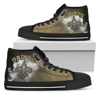 White Smoke Vintage New Orleans Saints High Top Shoes