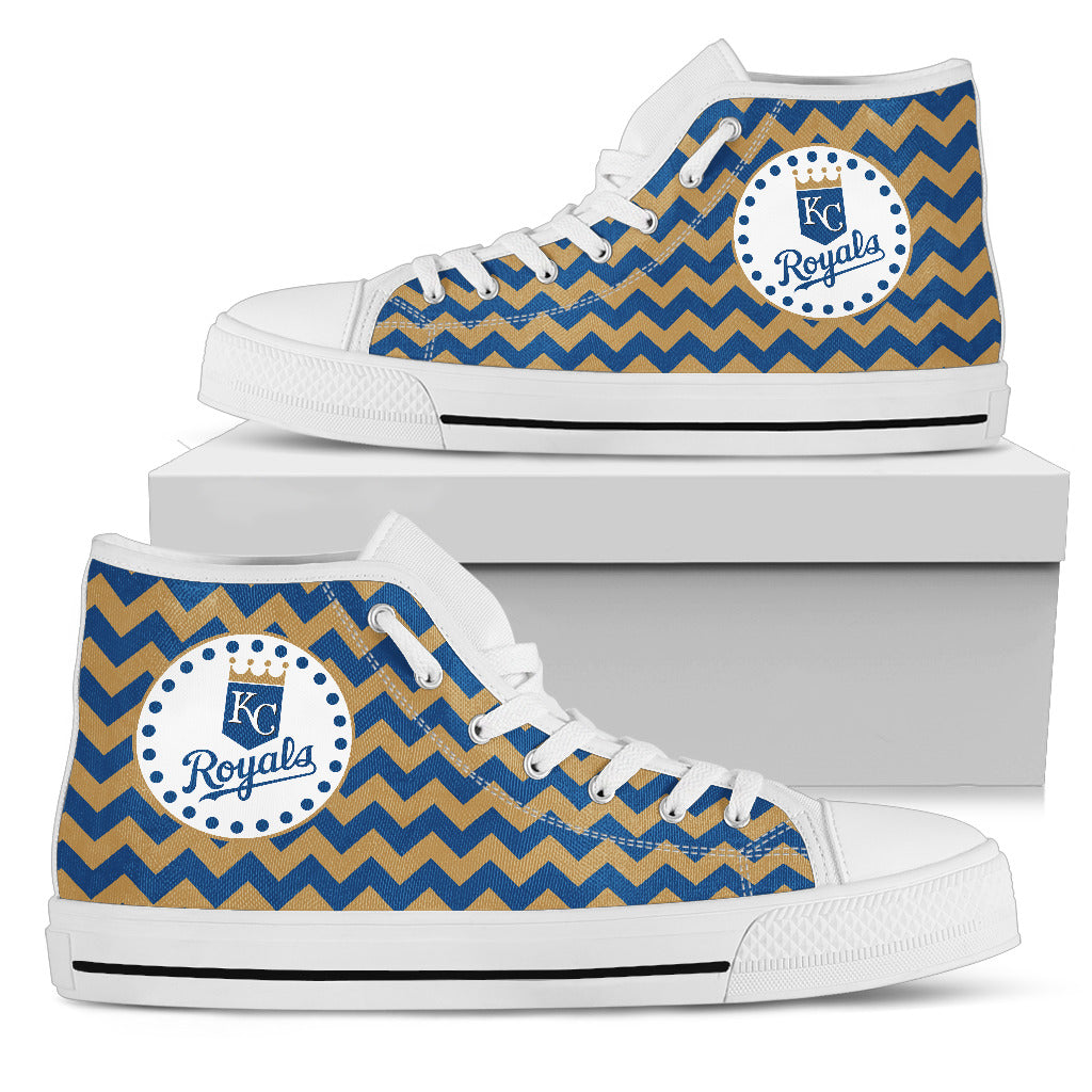Chevron Broncos Kansas City Royals High Top Shoes