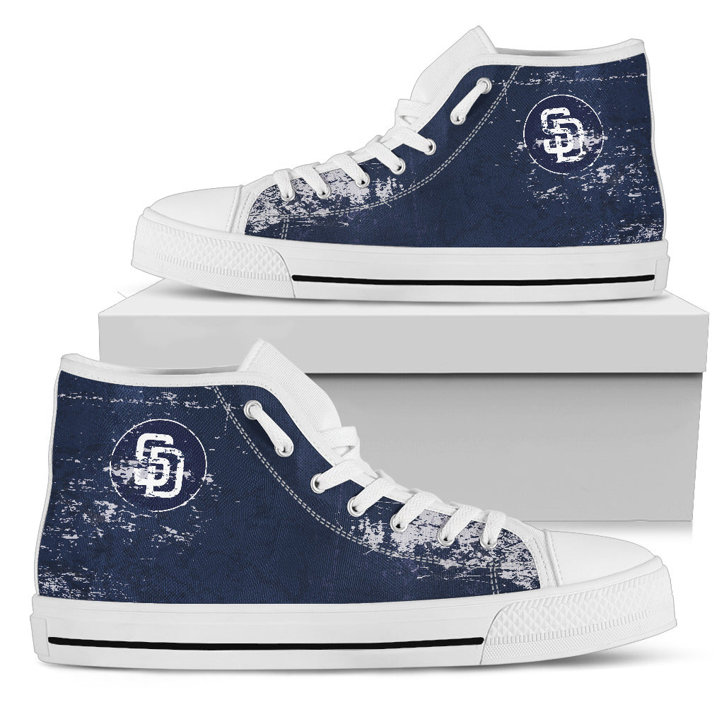 Grunge Vintage Logo San Diego Padres High Top Shoes