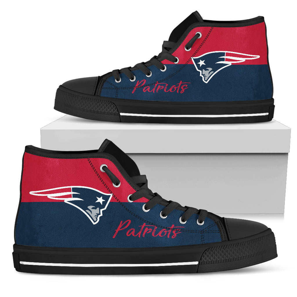 3def9cc5ee0fe Divided Colours Stunning Logo New England Patriots High Top Shoes
