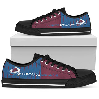 Simple Design Vertical Stripes Colorado Avalanche Low Top Shoes