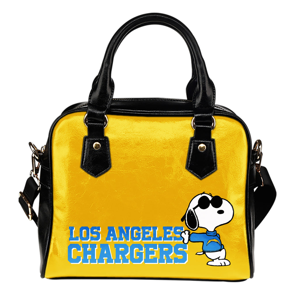 Los Angeles Chargers Cool Sunglasses Snoopy Shoulder Handbags Women Purse