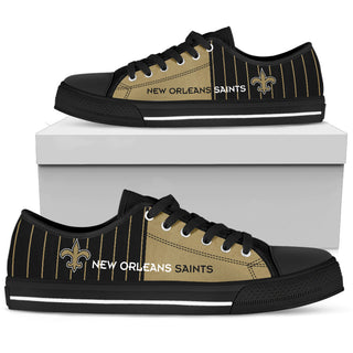 Simple Design Vertical Stripes New Orleans Saints Low Top Shoes