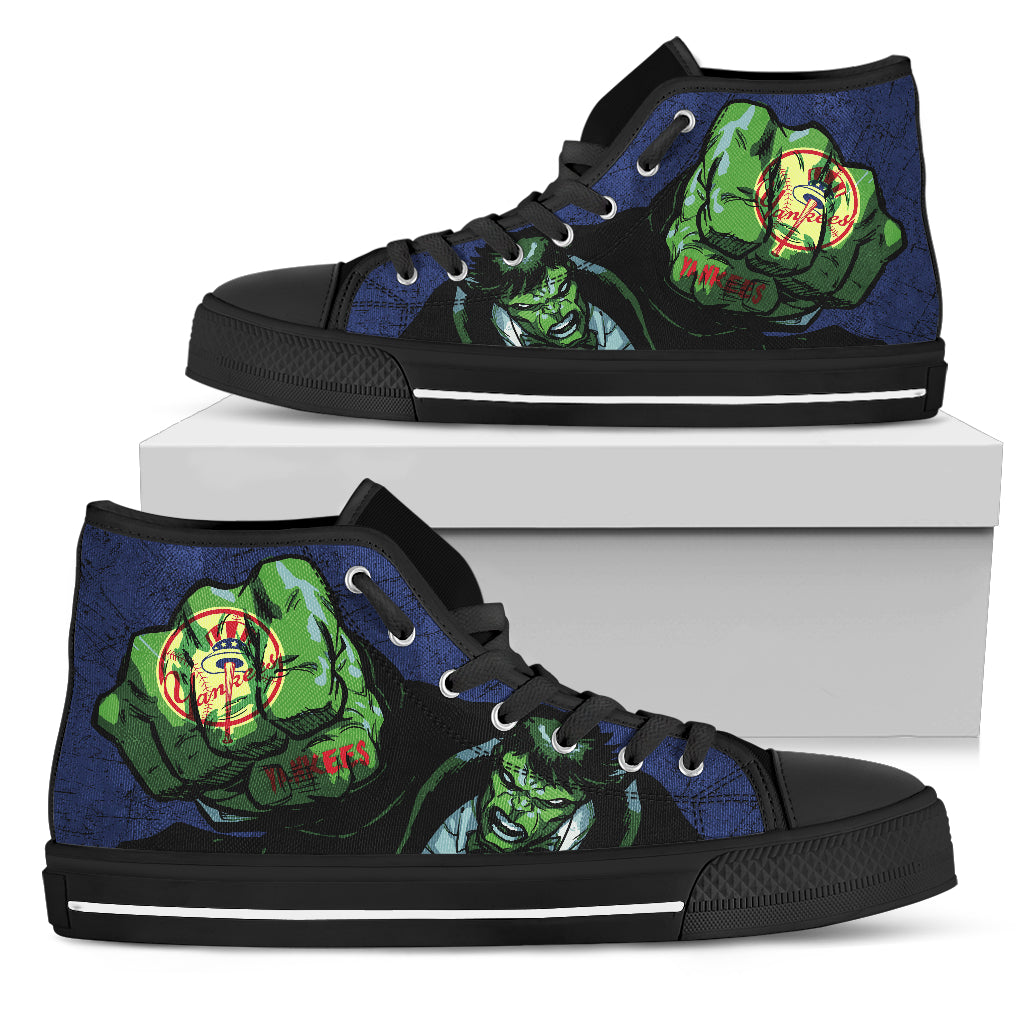 Hulk Punch New York Yankees High Top Shoes