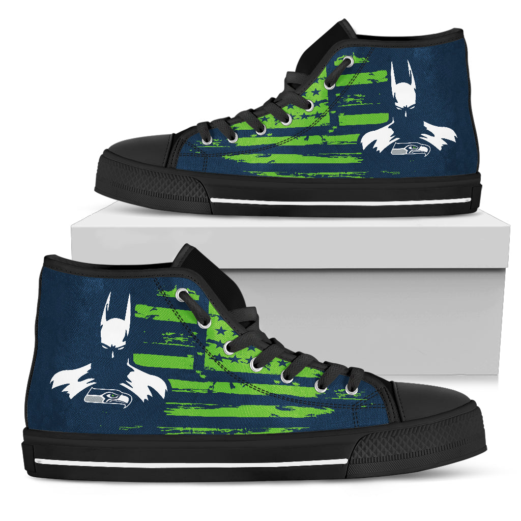 Batman Style Big Seattle Seahawks High Top Shoes