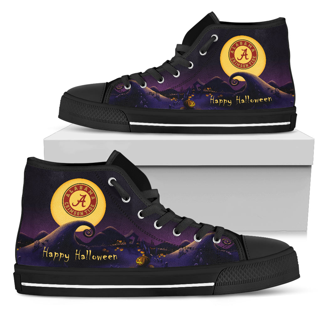 Before Christmas Nightmare Halloween Moonlight Alabama Crimson Tide High Top Shoes