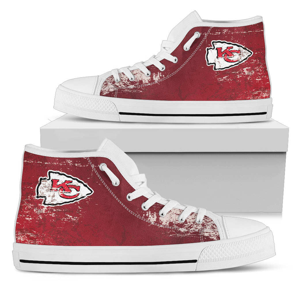 Grunge Vintage Logo Kansas City Chiefs High Top Shoes