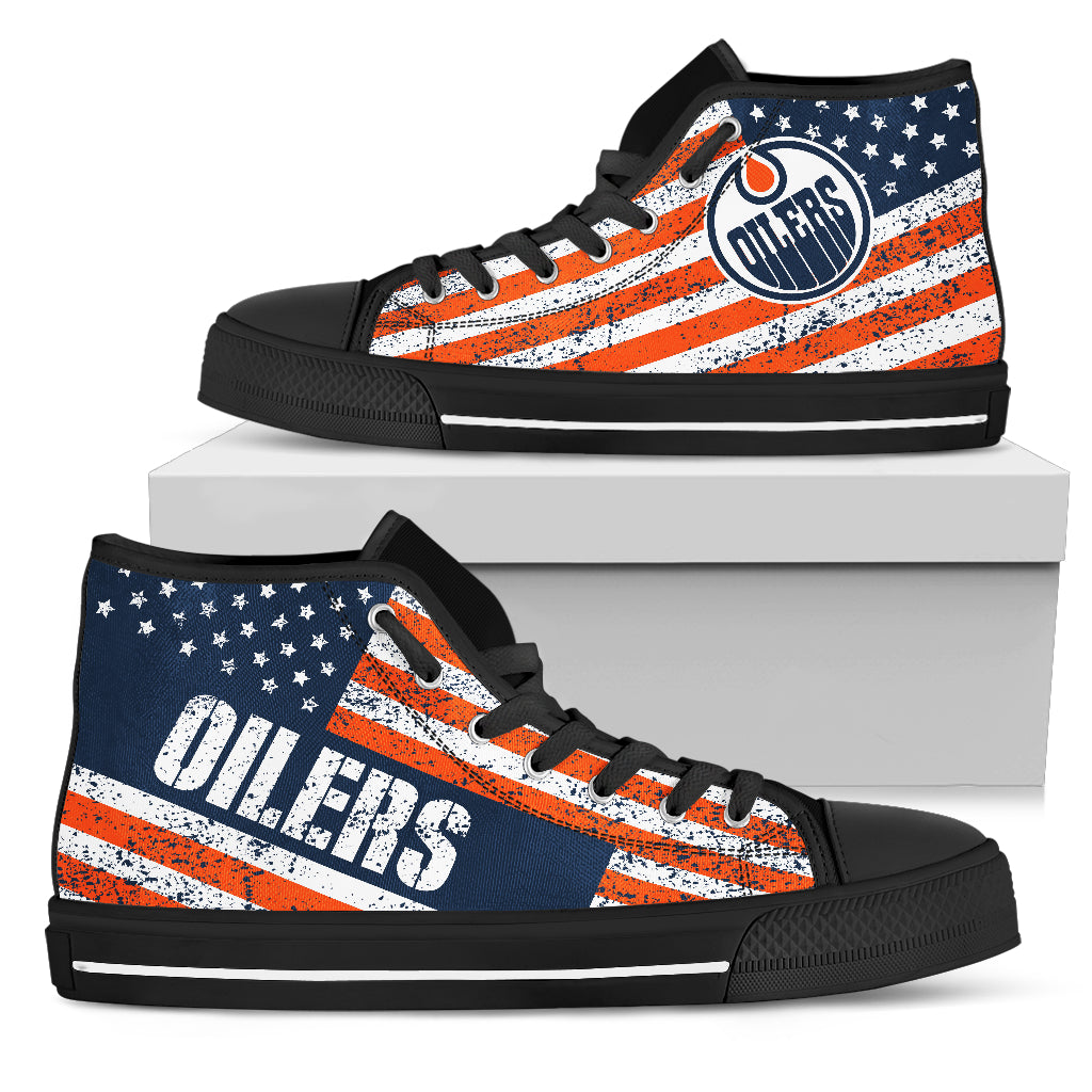 wholesale dealer 26917 a3f85 America Flag Italic Vintage Style Edmonton Oilers High Top Shoes