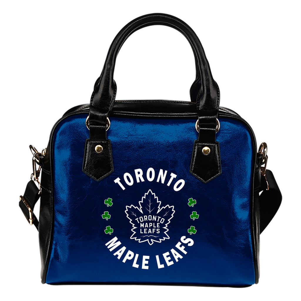 Central Beautiful Logo Circle Lucky Leaf Toronto Maple Leafs Shoulder Handbags