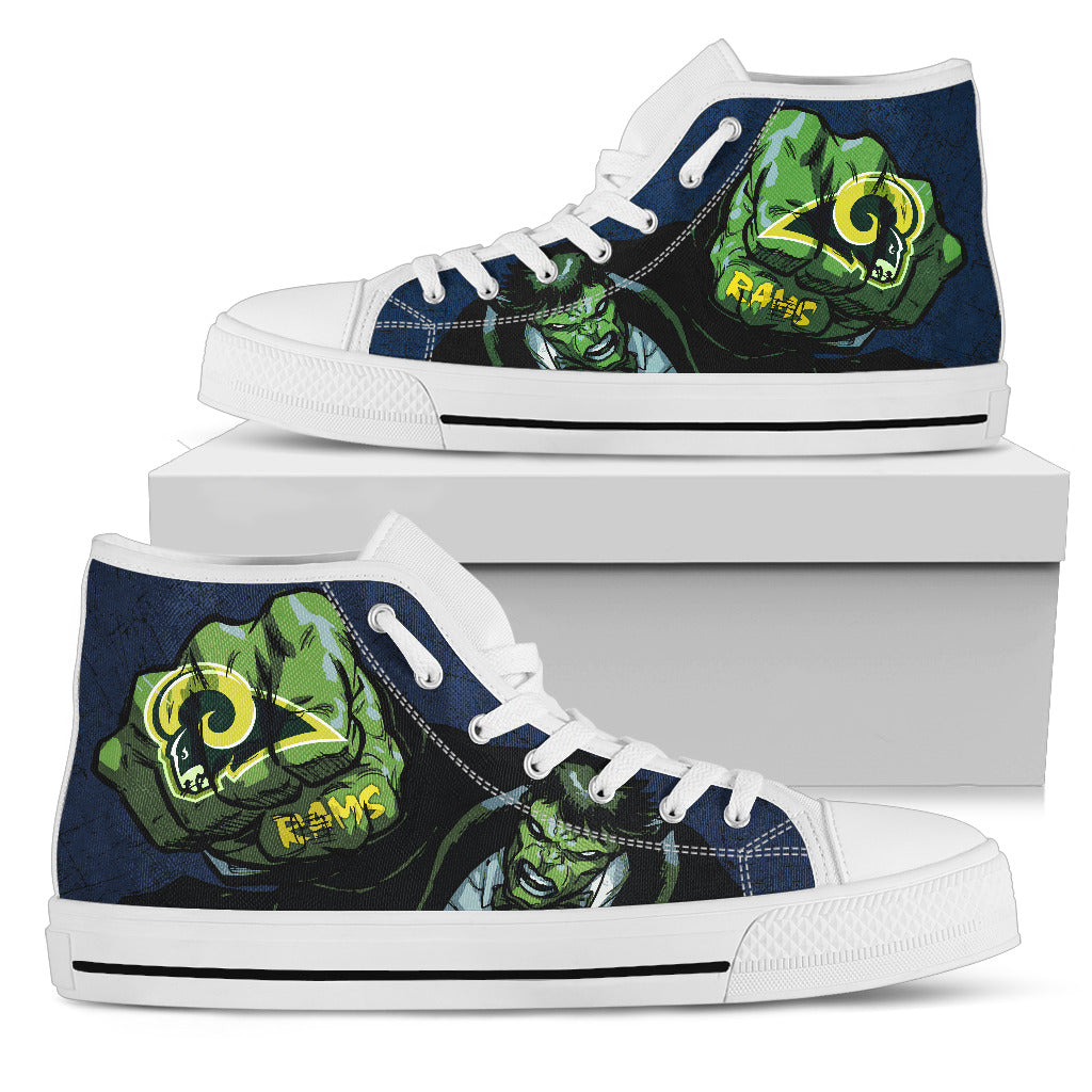 Hulk Punch Los Angeles Rams High Top Shoes