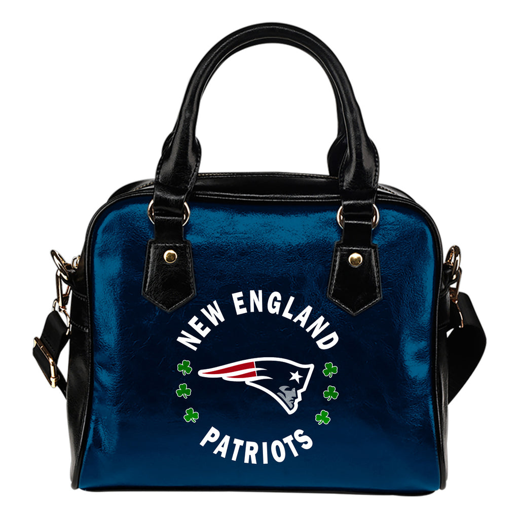 Central Beautiful Logo Circle Lucky Leaf New England Patriots Shoulder Handbags