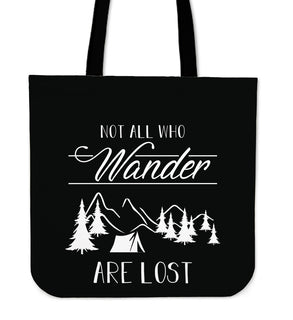 Not All Who Wander Camping Tote Bags