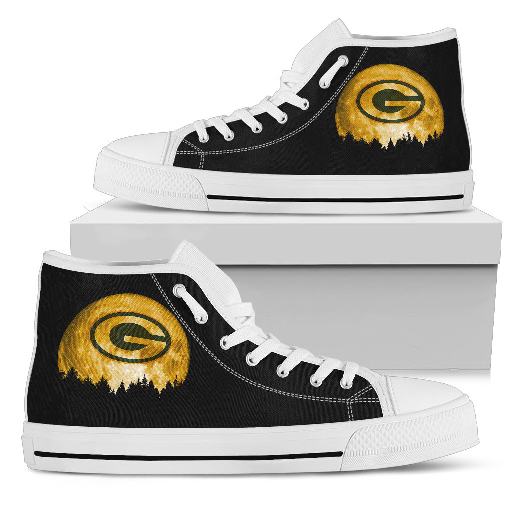 Halloween Orange Moon Mystery Green Bay Packers High Top Shoes