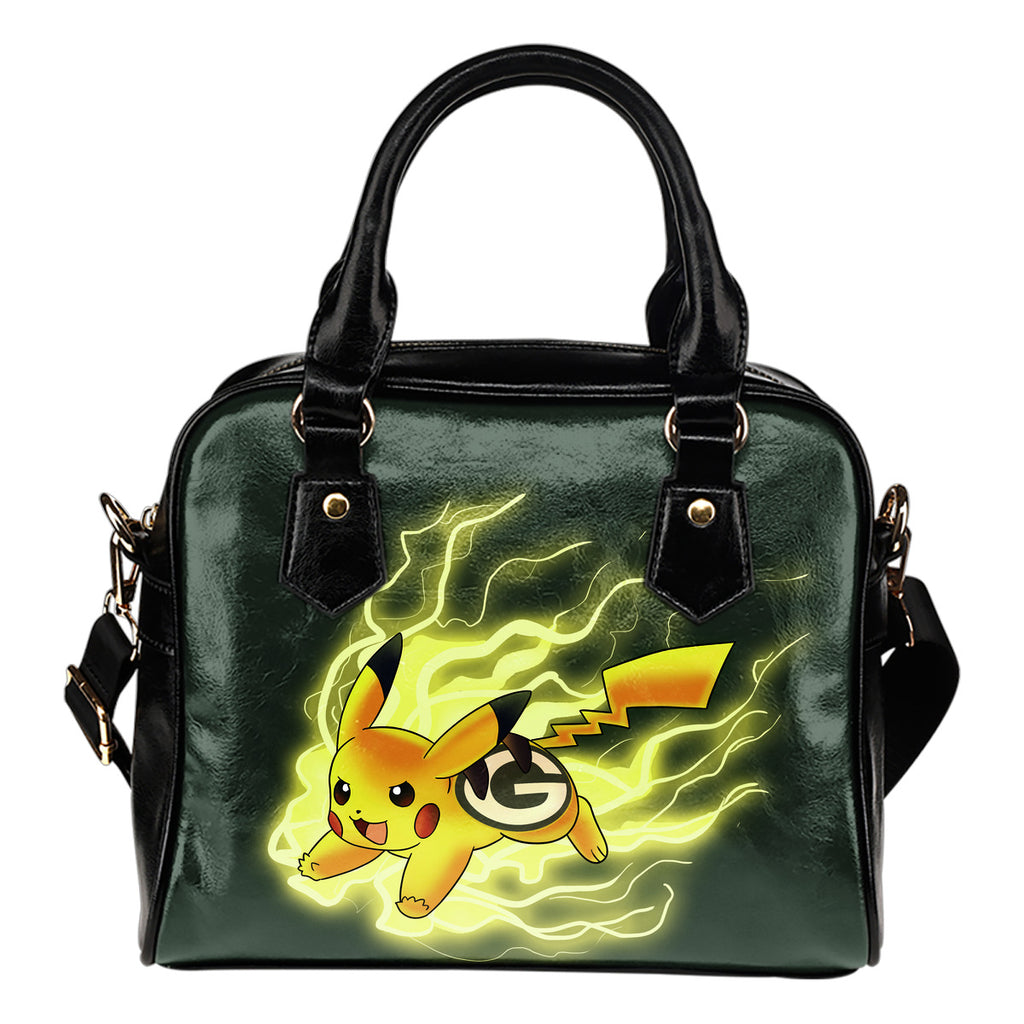 Pikachu Angry Moment Green Bay Packers Shoulder Handbags