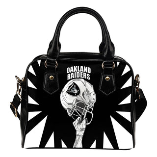 Saw Tooth Border Wonderful Hand Up Oakland Raiders Shoulder Handbag