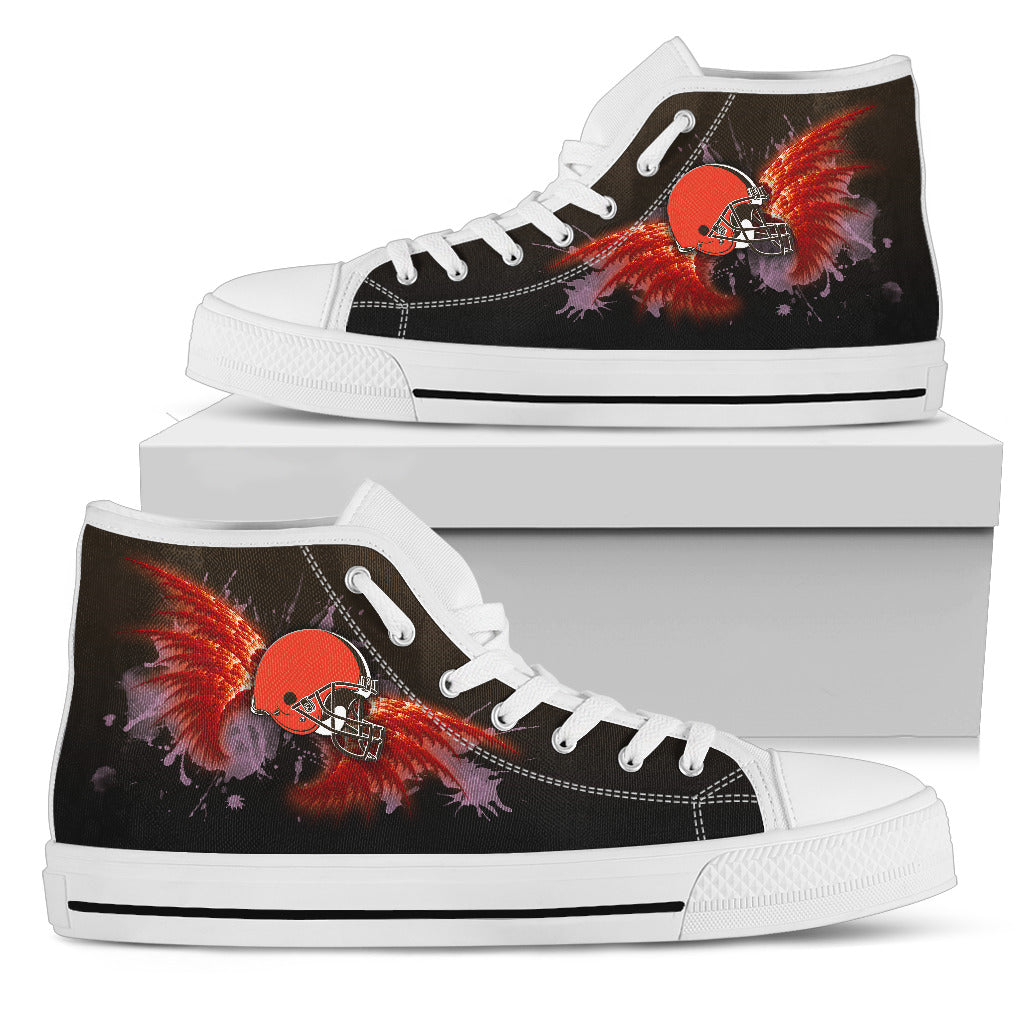 Angel Wings Cleveland Browns High Top Shoes