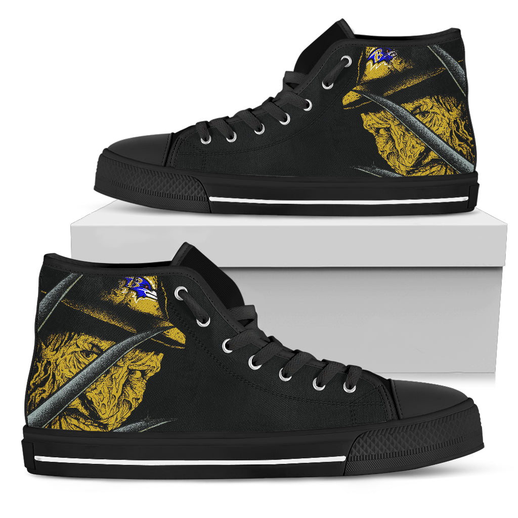 Baltimore Ravens Nightmare Freddy Colorful High Top Shoes