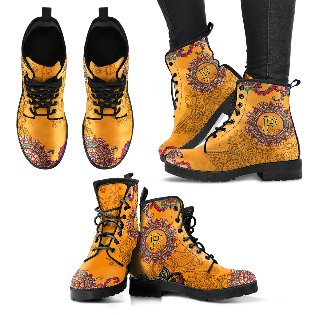 Golden Peace Hand Crafted Awesome Logo Pittsburgh Pirates Leather Boots