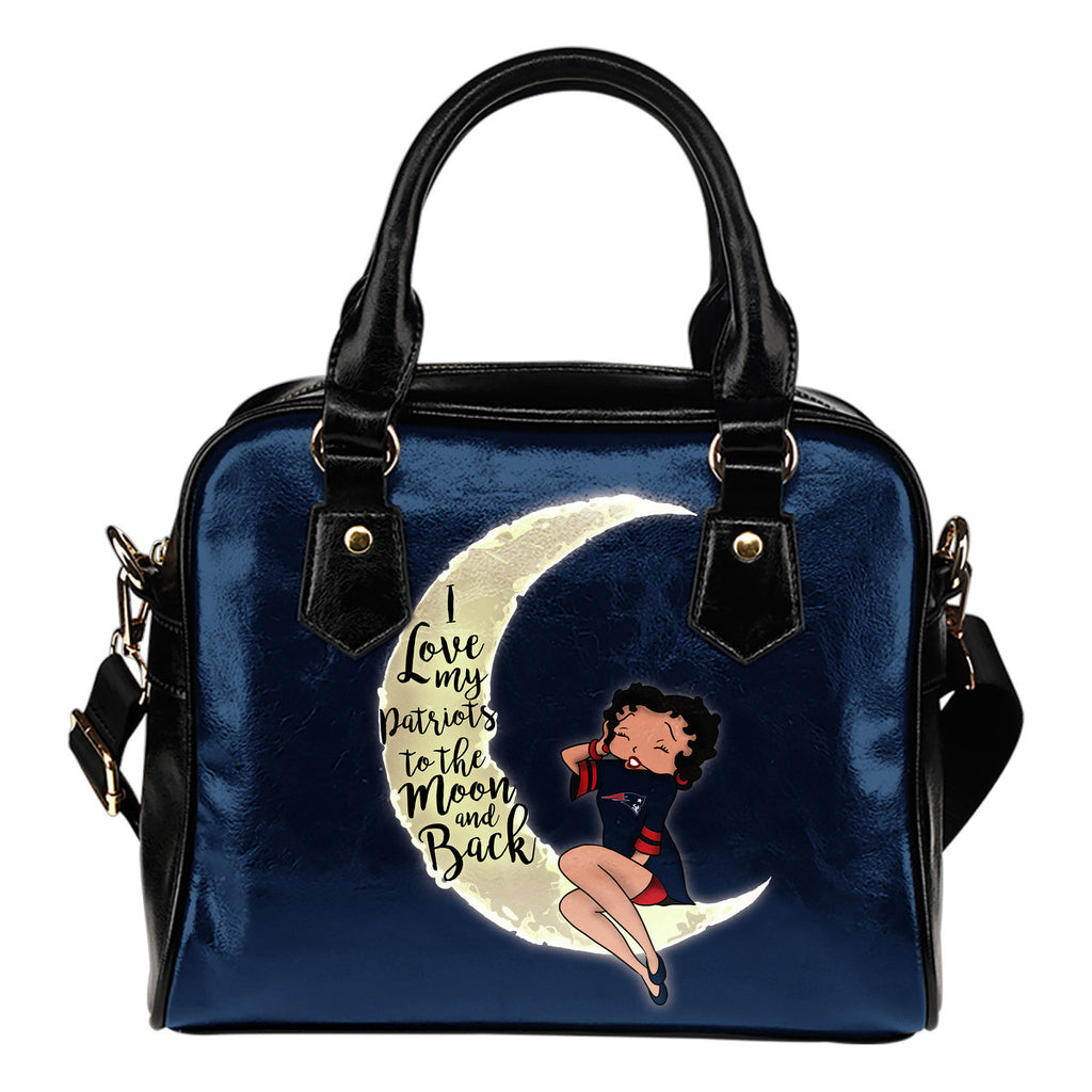 I Love My New England Patriots To The Moon And Back Shoulder Handbags - Best Funny Store