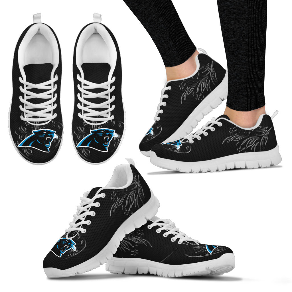Lovely Floral Print Carolina Panthers Sneakers