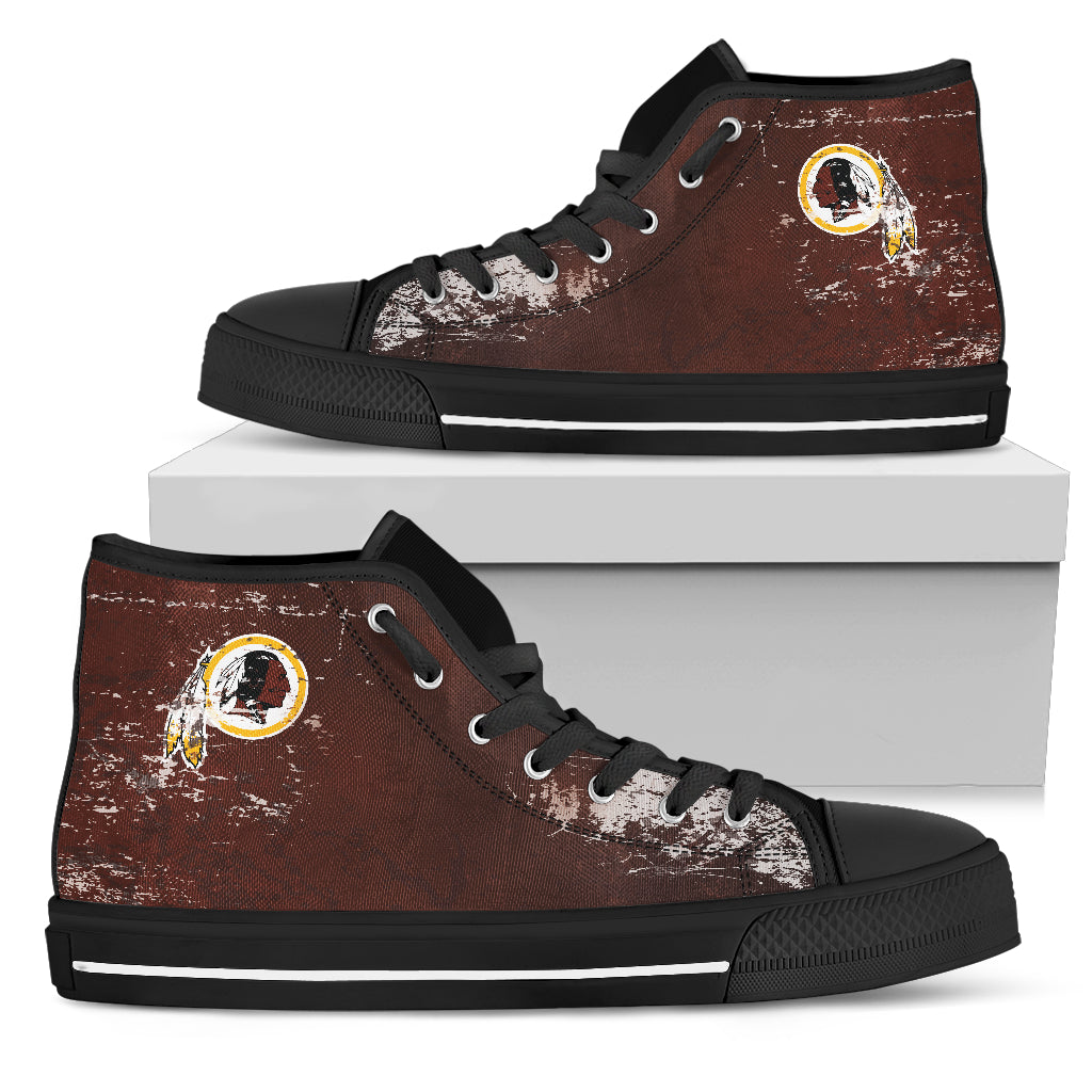 Grunge Vintage Logo Washington Redskins High Top Shoes