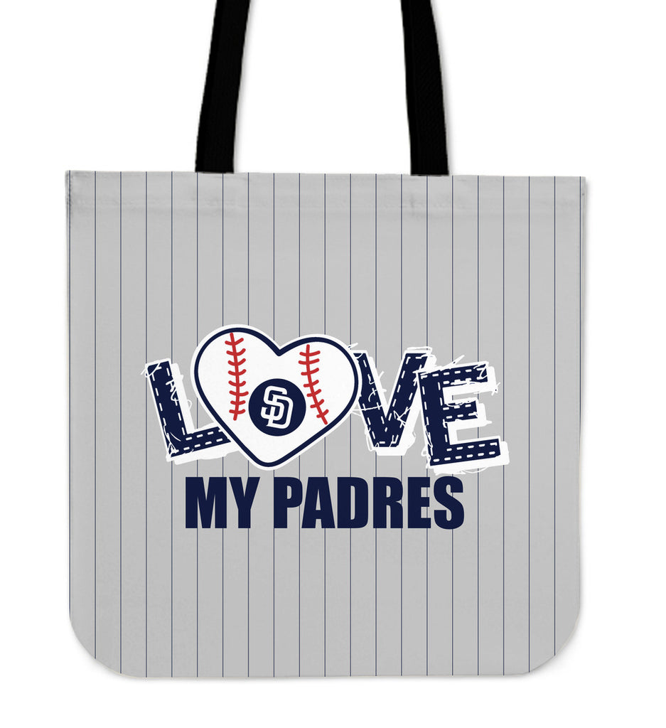Love My San Diego Padres Vertical Stripes Pattern Tote Bags