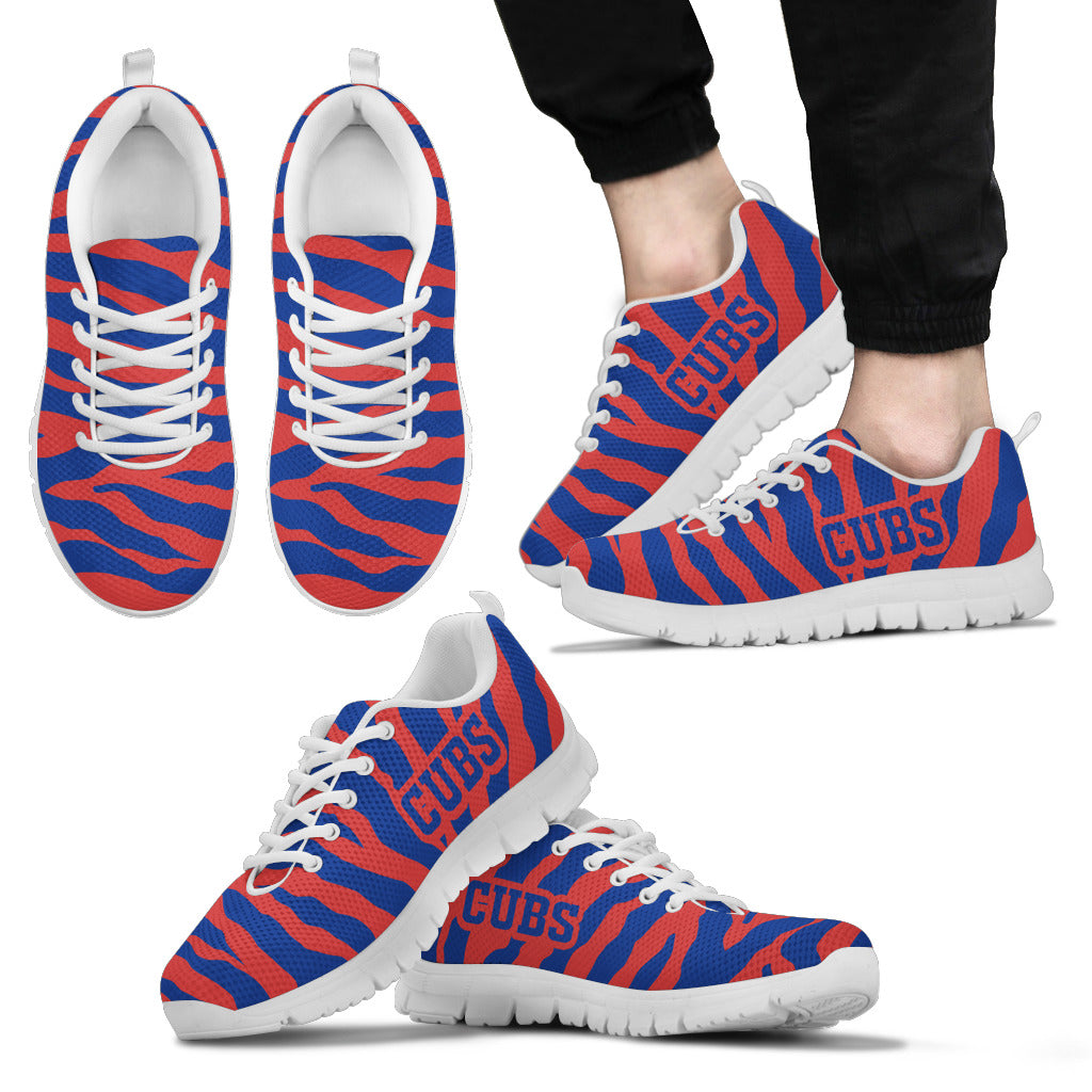 Tiger Skin Stripes Pattern Print Chicago Cubs Sneakers