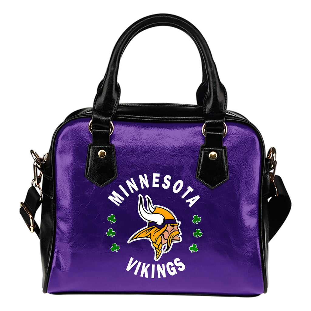 Central Beautiful Logo Circle Lucky Leaf Minnesota Vikings Shoulder Handbags