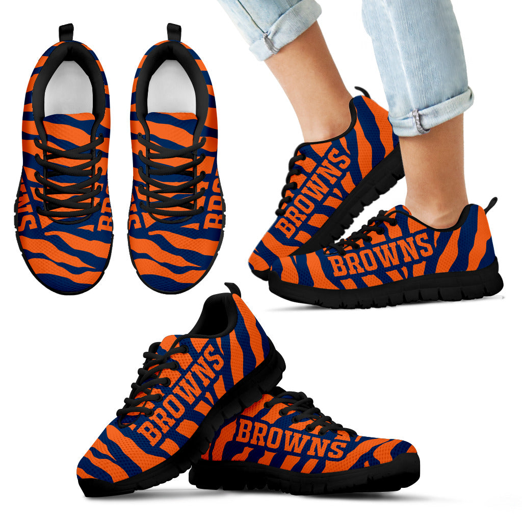 Tiger Skin Stripes Pattern Print Denver Broncos Sneakers