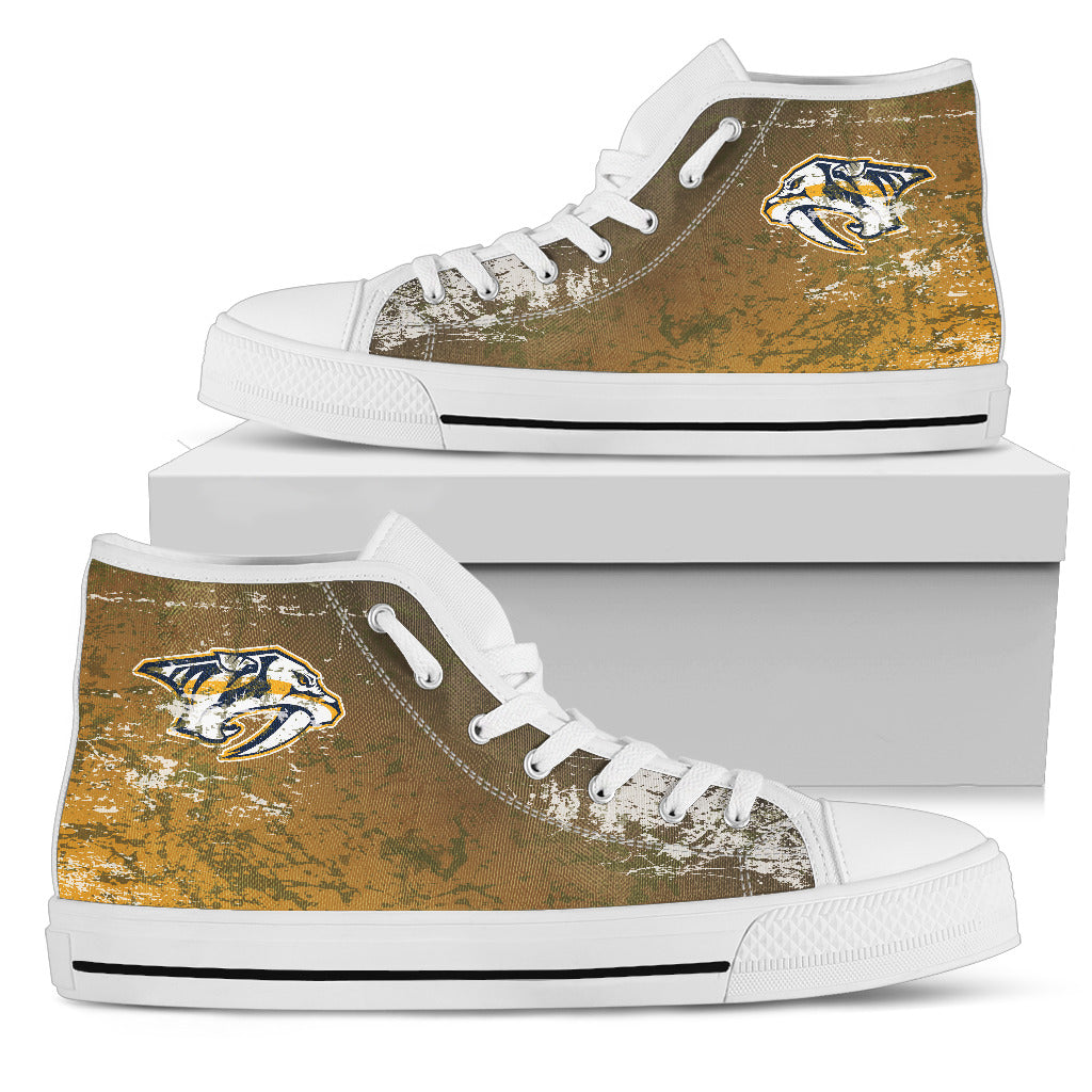 Grunge Vintage Logo Nashville Predators High Top Shoes