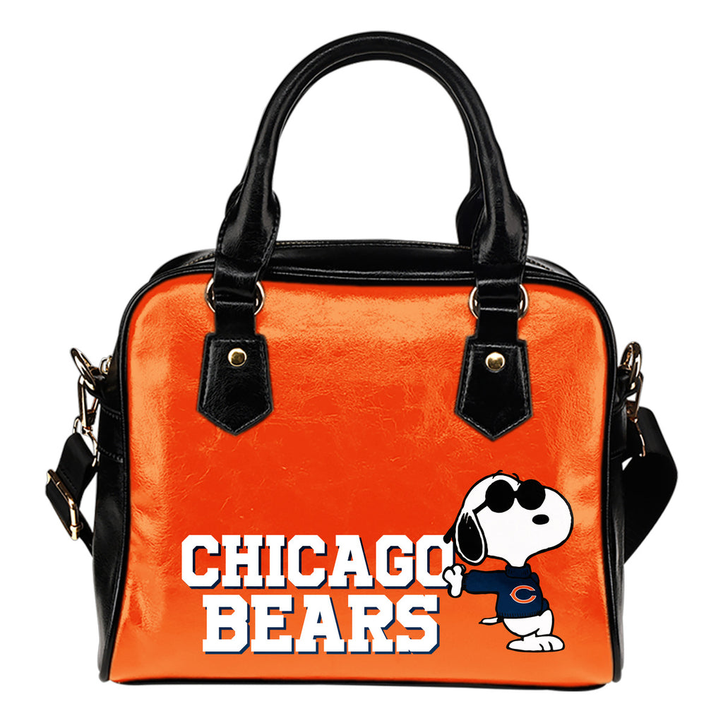 Chicago Bears Cool Sunglasses Snoopy Shoulder Handbags Women Purse