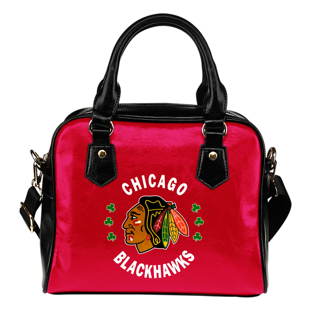 Central Beautiful Logo Circle Lucky Leaf Chicago Blackhawks Shoulder Handbags