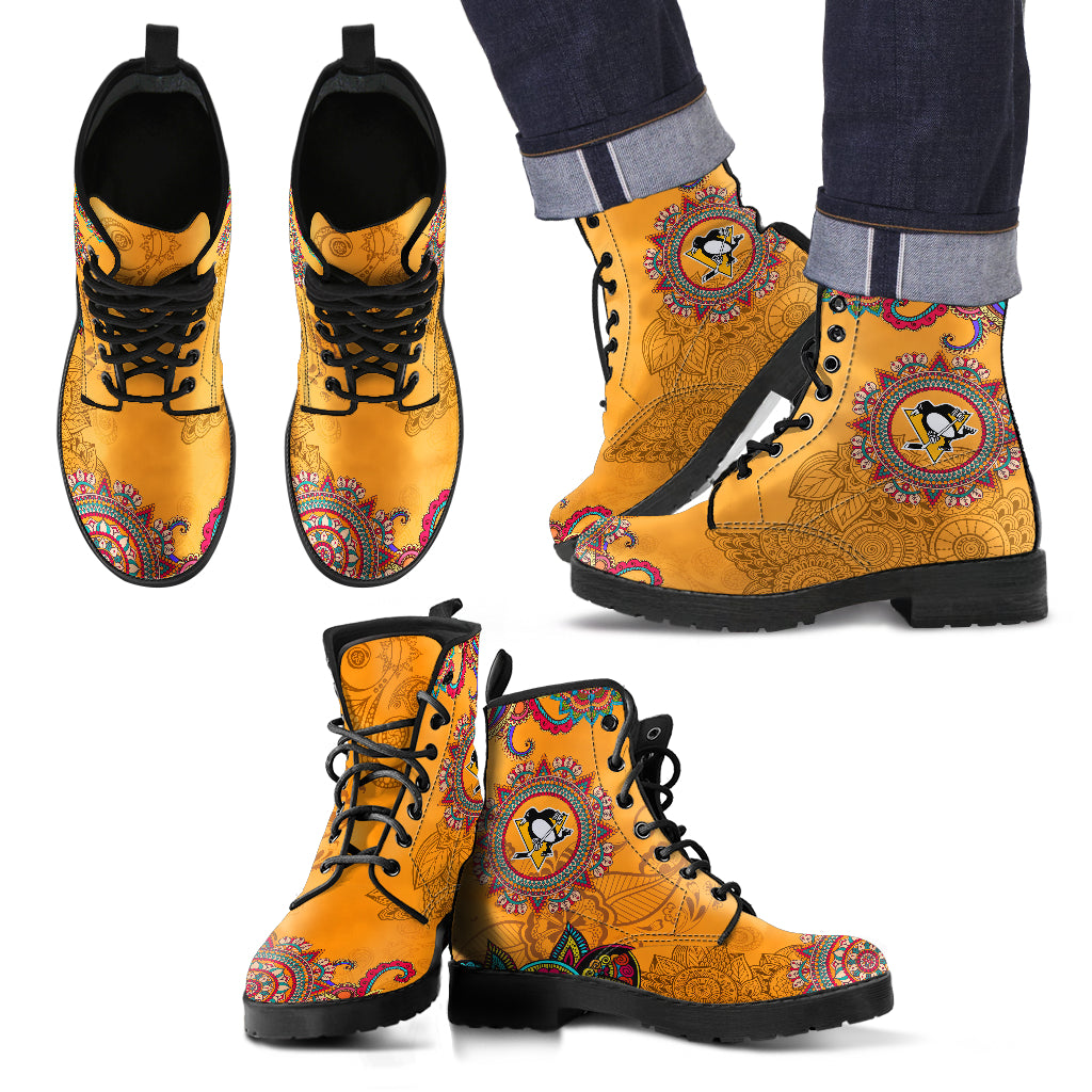 Golden Peace Hand Crafted Awesome Logo Pittsburgh Penguins Leather Boots