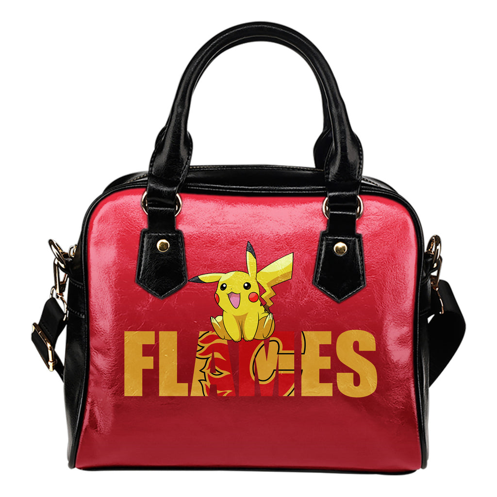 Pokemon Sit On Text Calgary Flames Shoulder Handbags