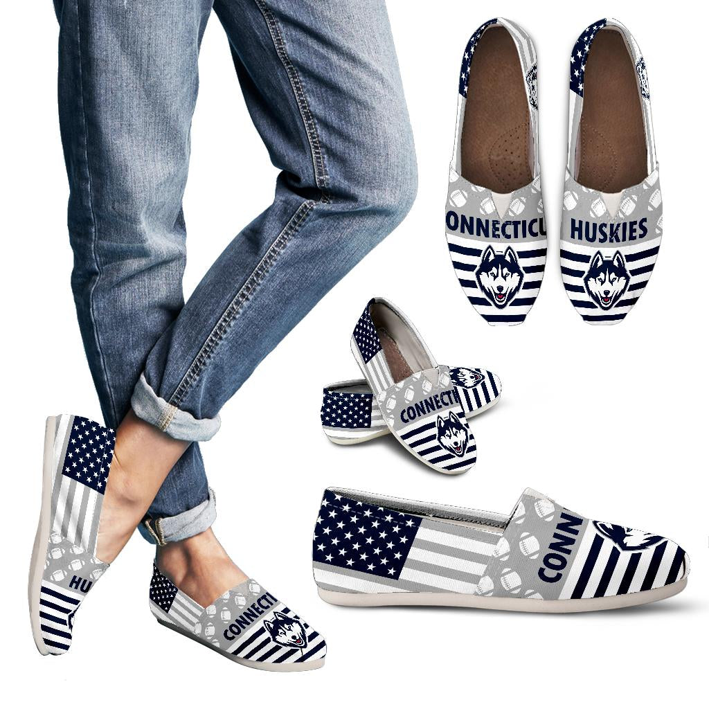 American Flag Connecticut Huskies Casual Shoes