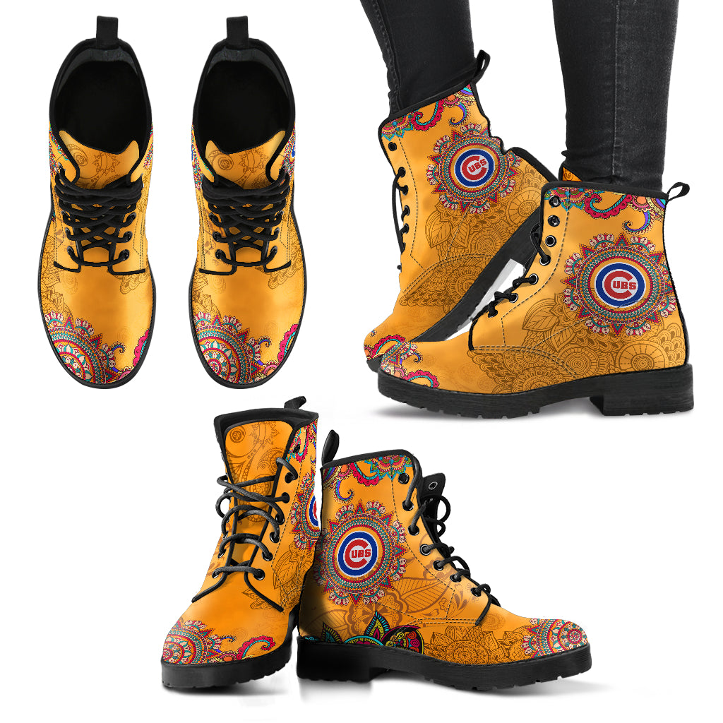 Golden Peace Hand Crafted Awesome Logo Chicago Cubs Leather Boots