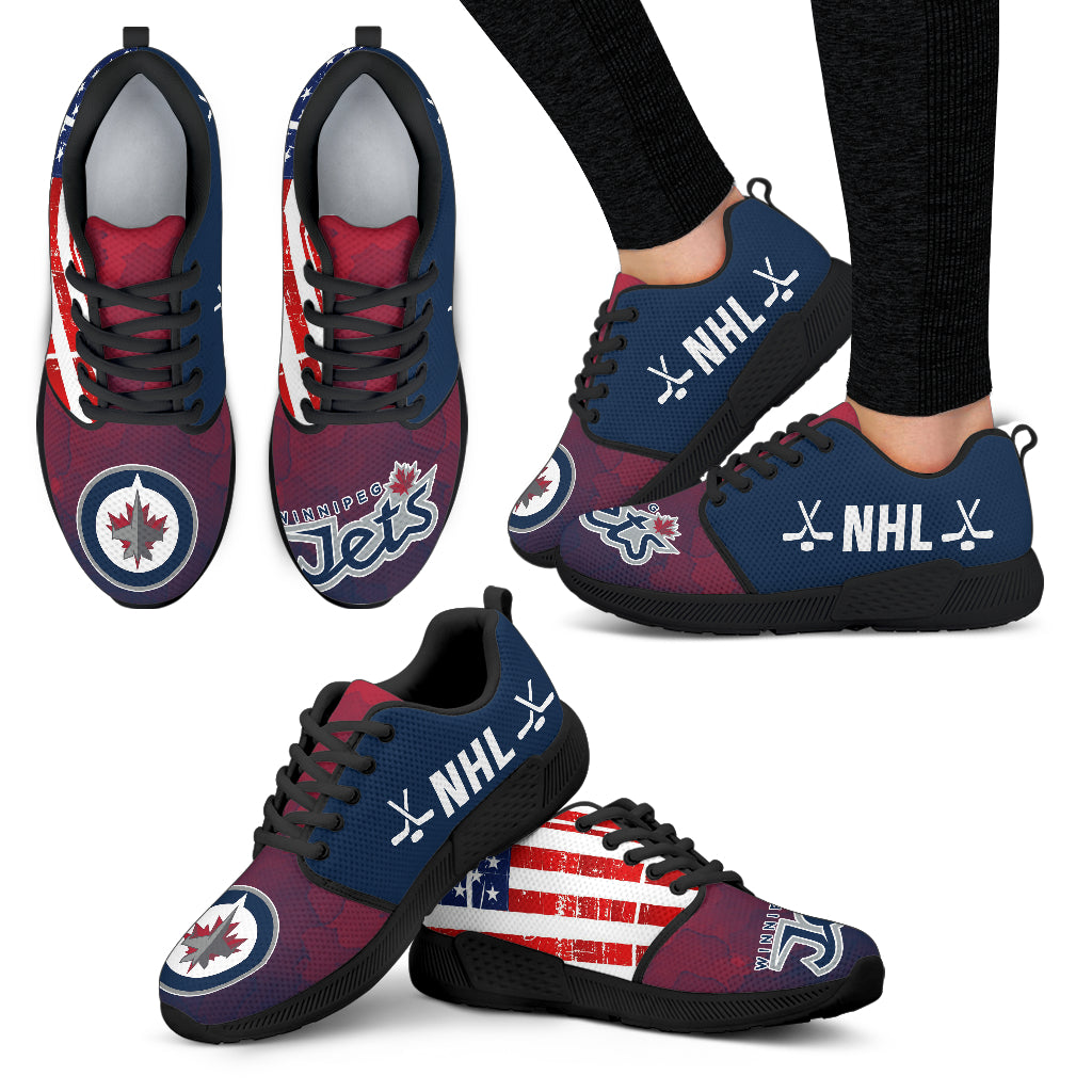 newest acc89 37be6 Simple Fashion Winnipeg Jets Shoes Athletic Sneakers