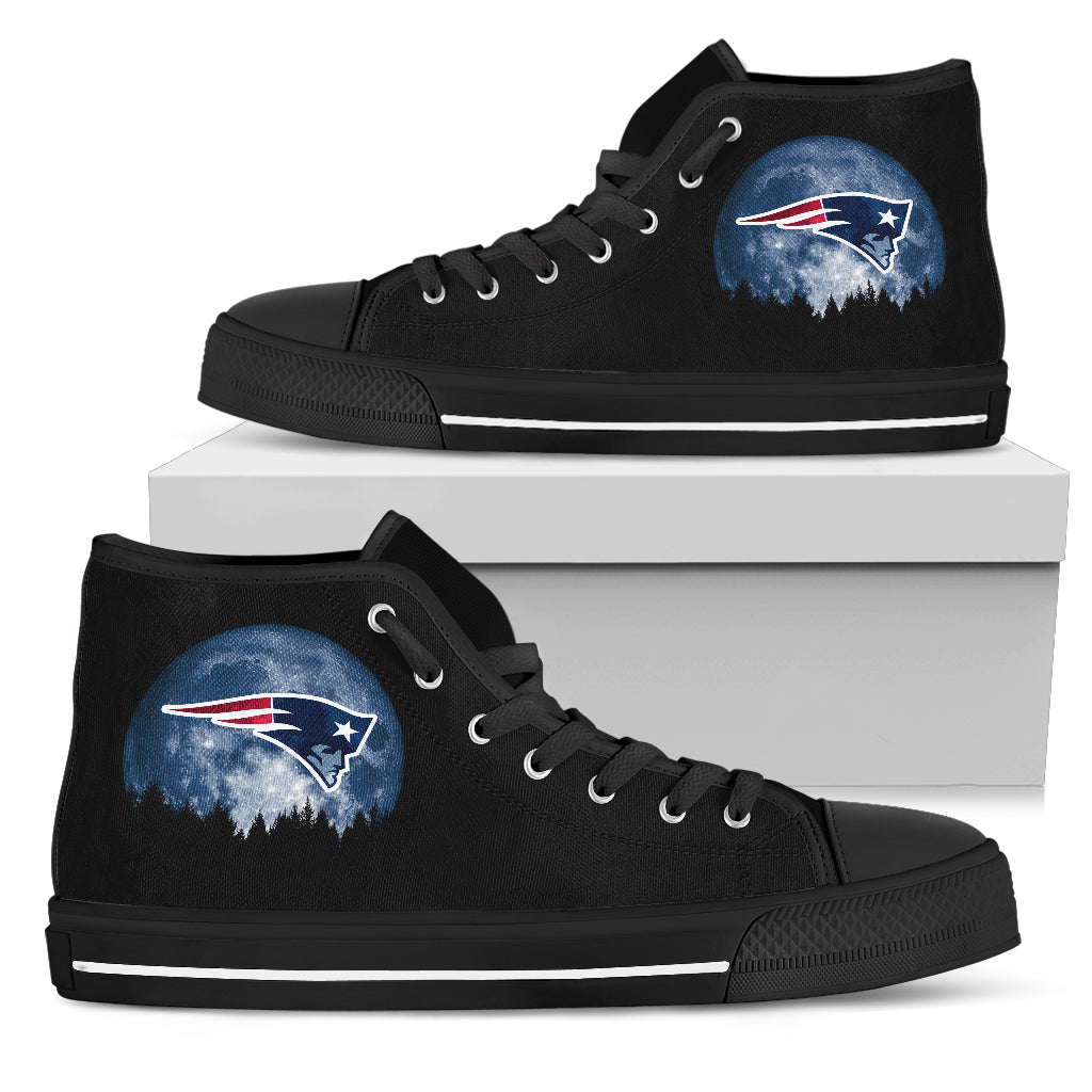 Halloween Orange Moon Mystery New England Patriots High Top Shoes